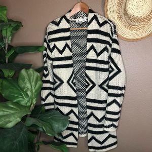 Roxy Black & White Aztec Print Open Front Sweater